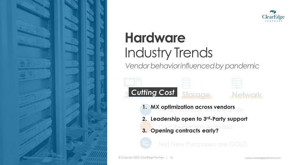 Hardware industry tends Cost Cutting - MX optimization across vendors, leadership open to third party support, contracts opening early