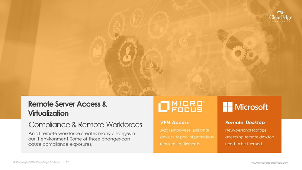 Compliance and Remote Workforce change in IT environment - Micro Focus VPN access and Microsoft Remote Desktop