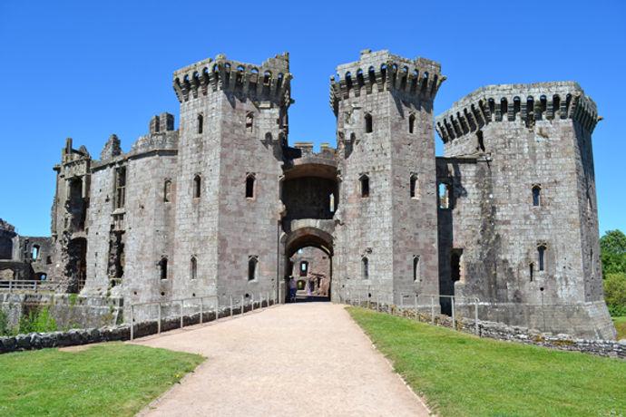 Raglan Castle is a late medieval castle