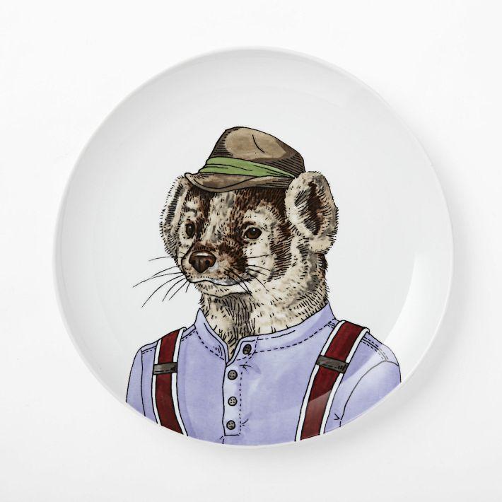 West Elm Dapper Animal Plate Badger