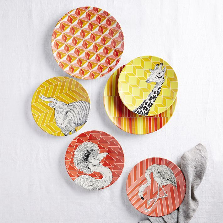 West Elm Animal Geo Melamine Plates