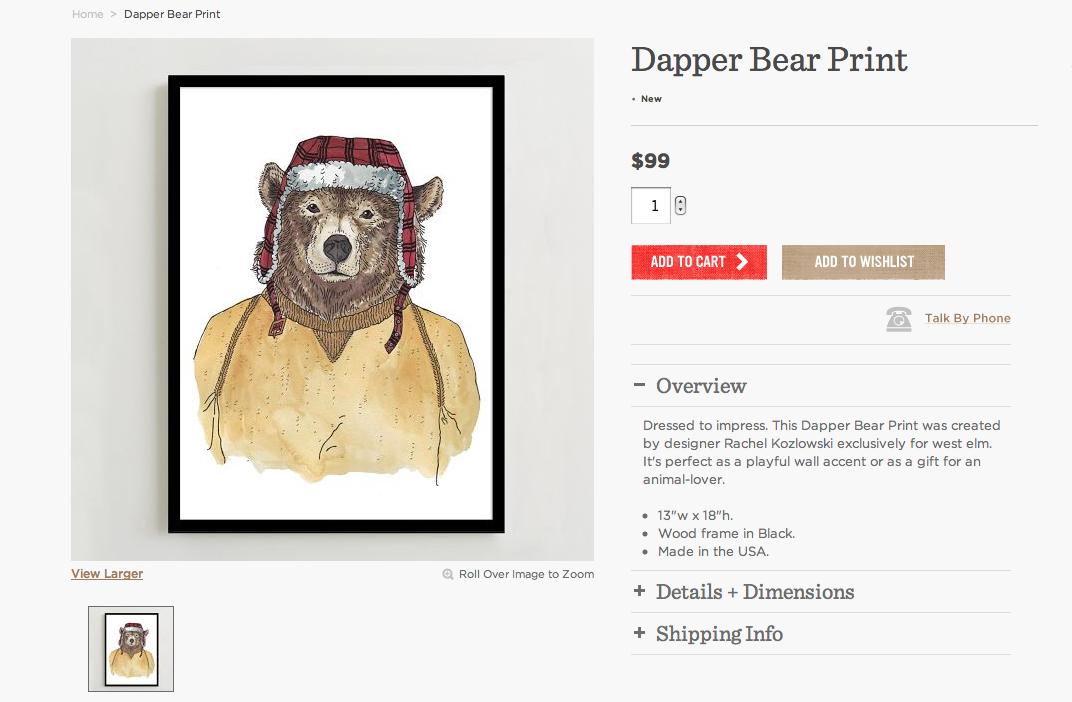 West Elm Bear Print
