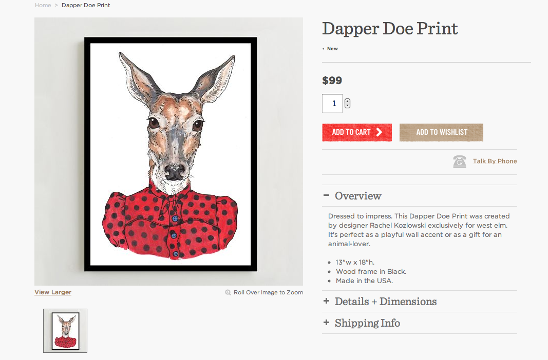 West Elm Doe Print