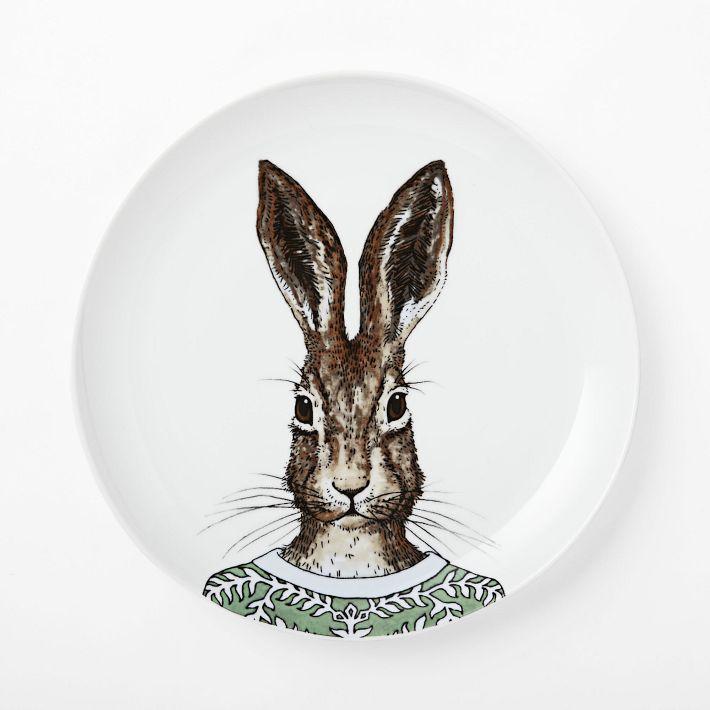 West Elm Dapper Animal Plates Hare
