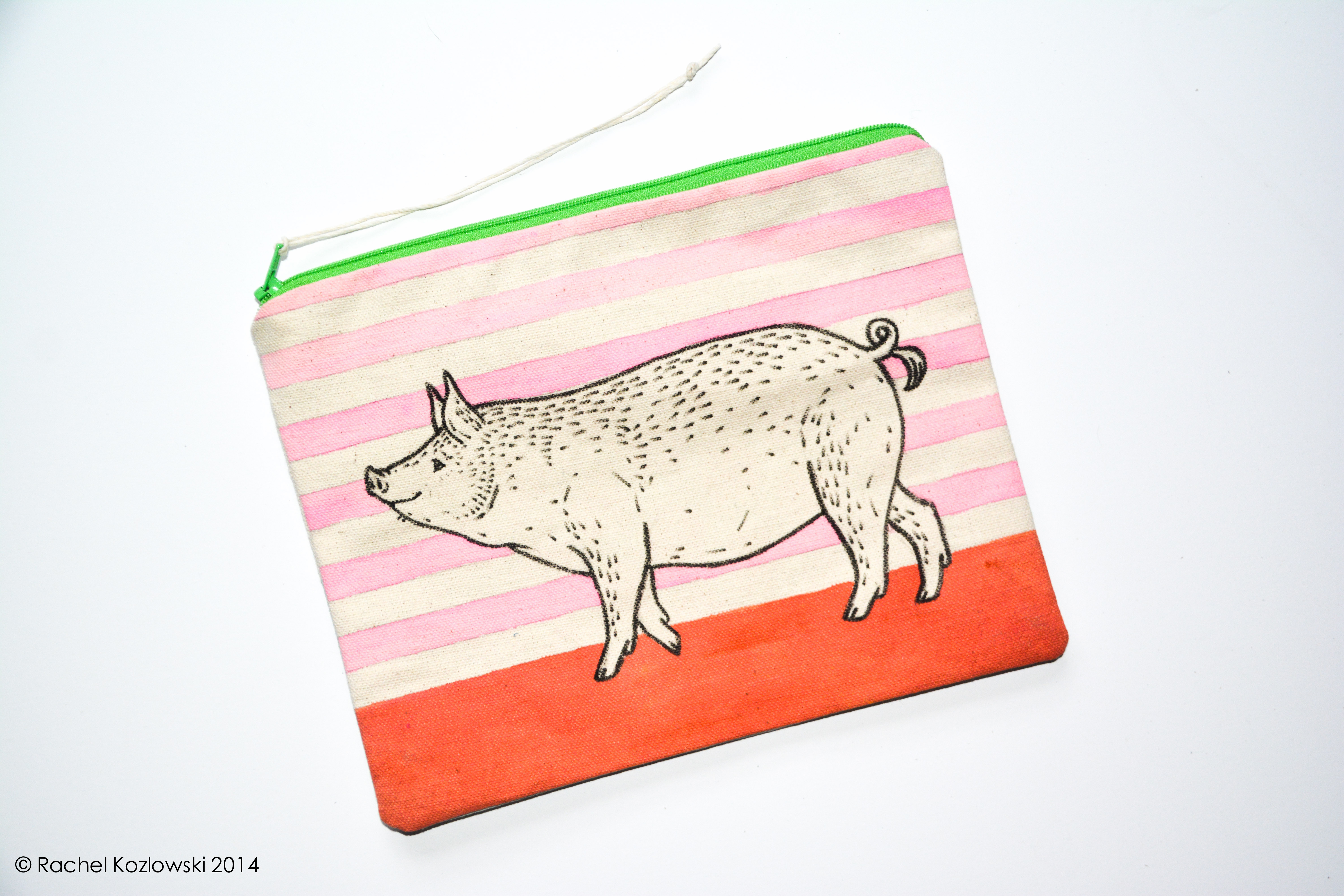 Hand Painted Clutch - Pig