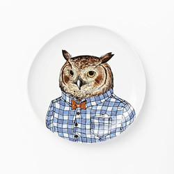 West Elm Dapper Animal Plates Owl
