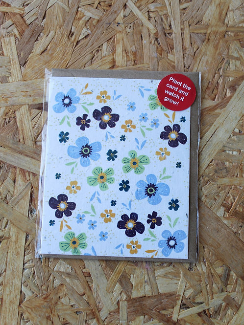 Blue Flowers Plant Card