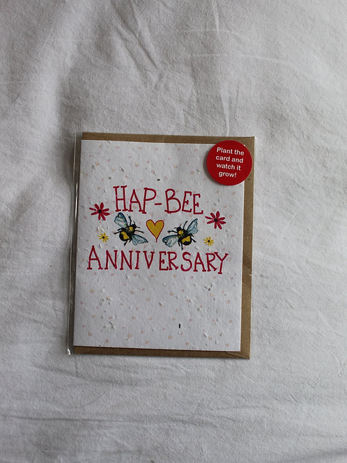 Hap-Bee Anniversary Plant Card