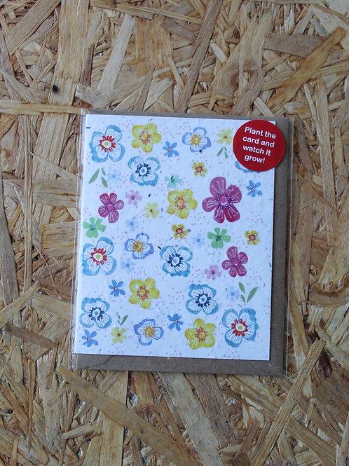 Multicoloured Flowers Plant Card