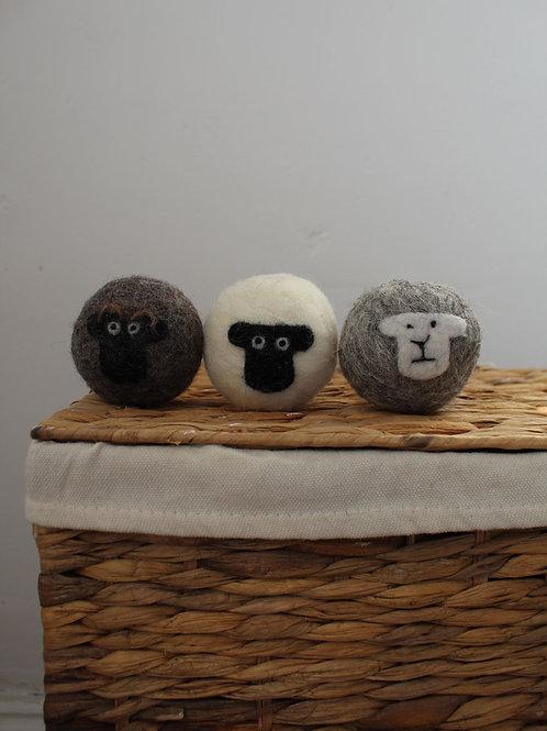Set of Three Sheep Laundry Balls