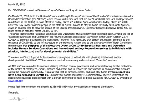 COVID-19 Coronavirus/Governor Cooper's Executive Stay at Home Order and Essential Services