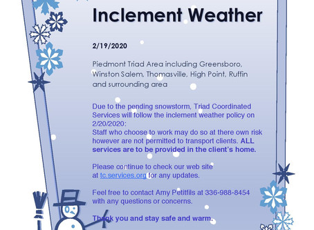 02/19/2020: INCLEMENT WEATHER POLICY