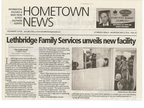 Lethbridge Family Services Expansion Grand Opening Newspaper Article