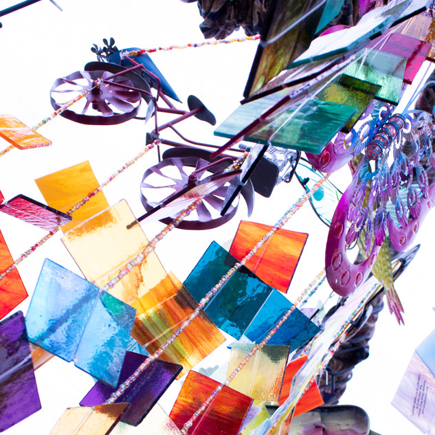 Flowertown Festival Colorful Glass Wind Chime