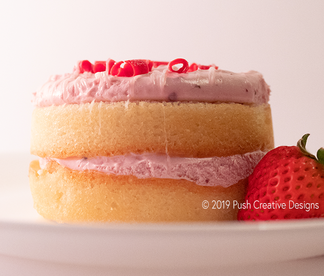 Small Strawberry Cake Food Photography
