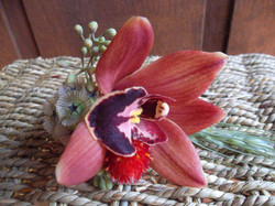 Fall orchid boutonniere