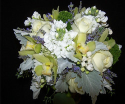 cool white and green with lavender