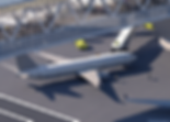 Renderig of a plane under the pedestrian walkway.