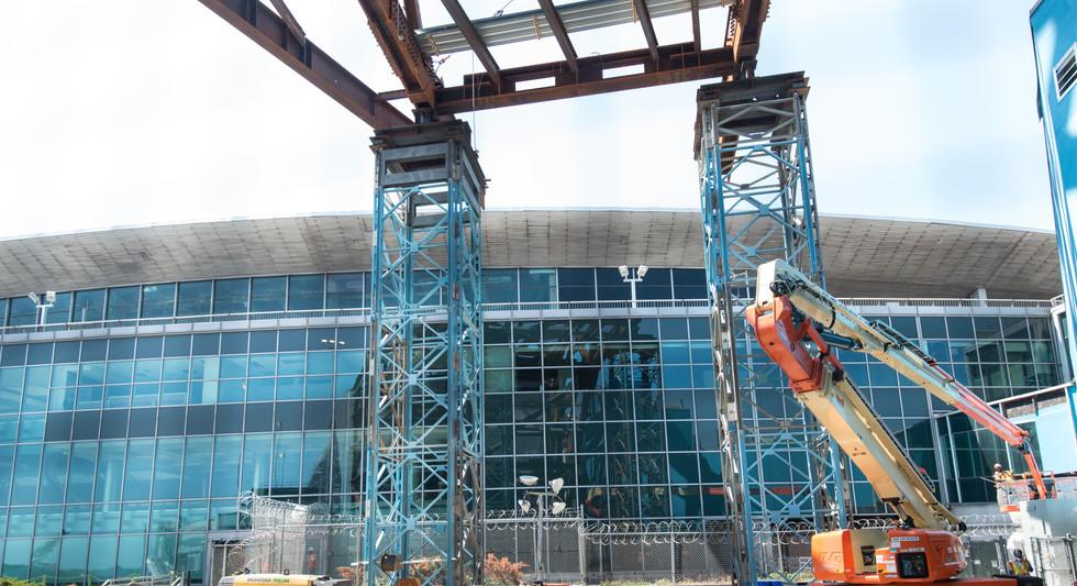 Steel work looking towards original terminal building