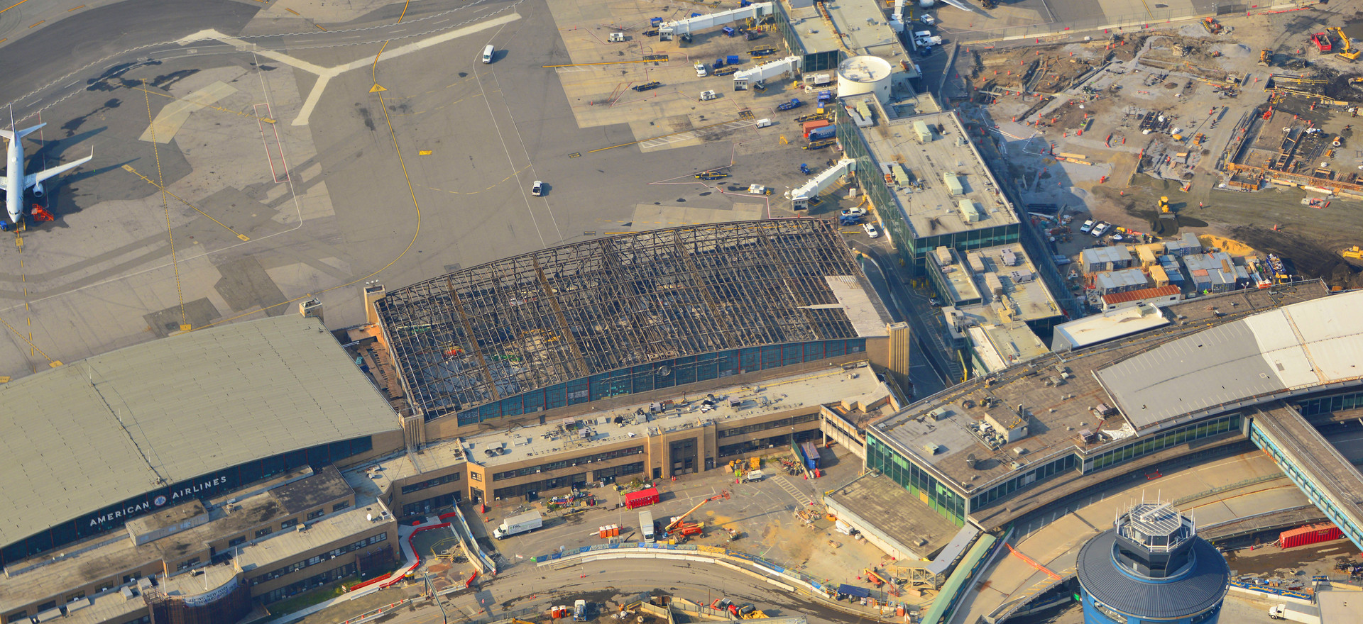 Aerial of Hangar 1 Demolition
