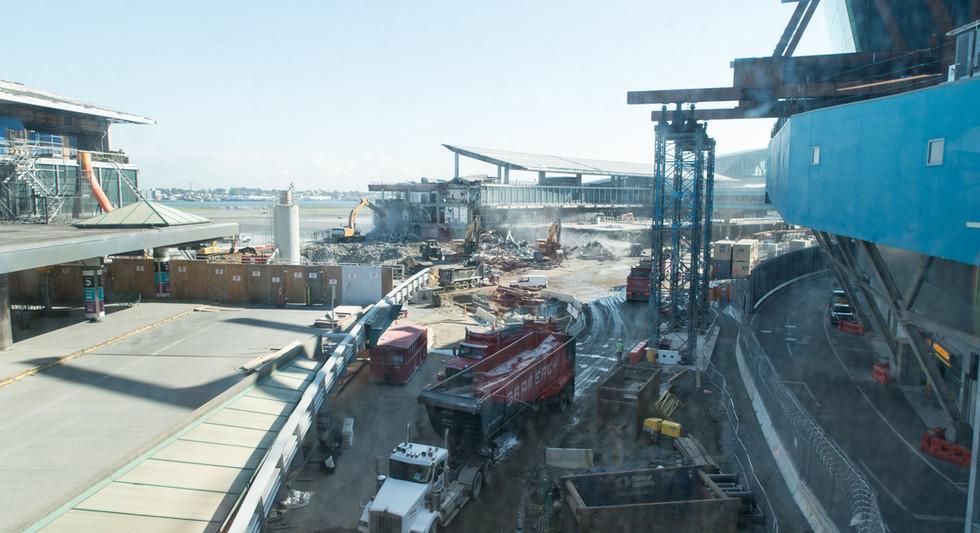 Landside view of steel work