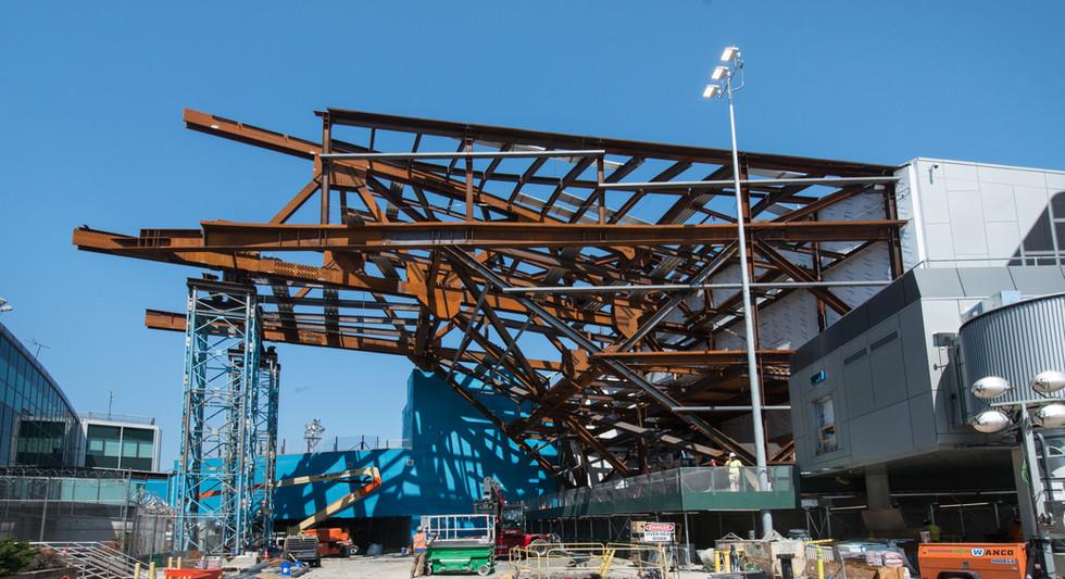 Airside view of steel work