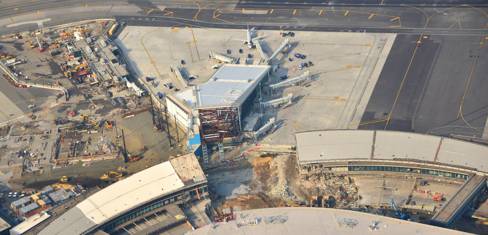 Aerial View of Western Concourse Construction & associated demolition of Central Terminal B