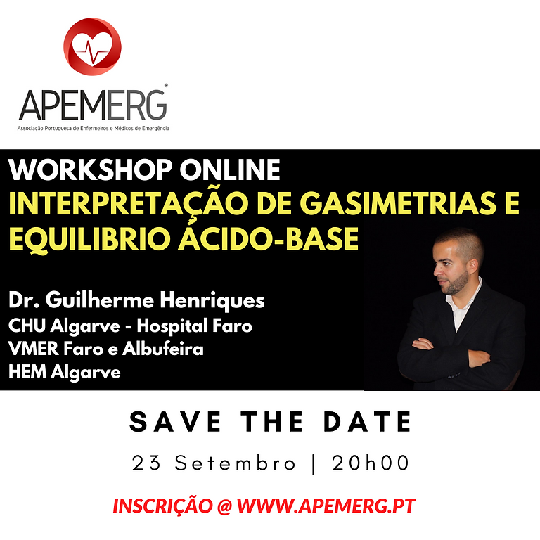 """Workshop ONLINE """"Interpretação de gasimetrias e equilibrio ácido-base"""""""