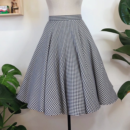 Houndstooth Full Circle Skirt With Pockets