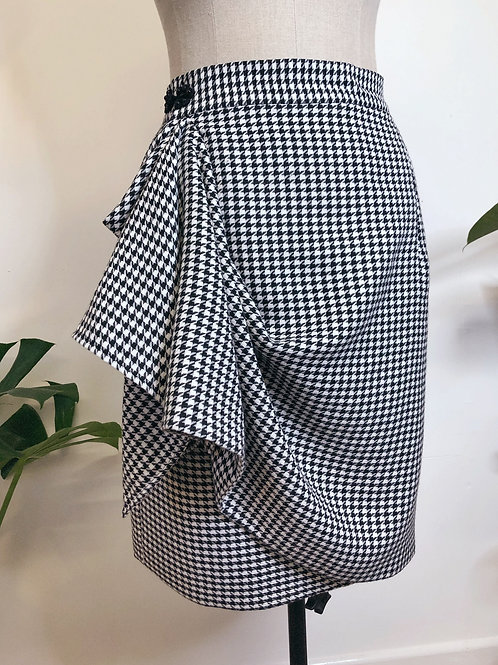 Houndstooth Wrap Skirt With Pockets