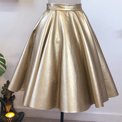 Gold Faux Leather Circle Skirt With Pockets