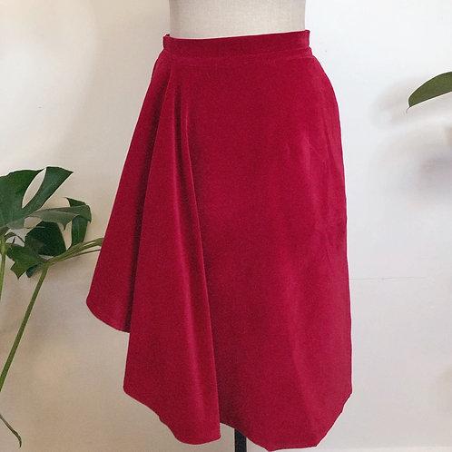 Raspberry Velvet Wrap Skirt With PocketsAnd Drape