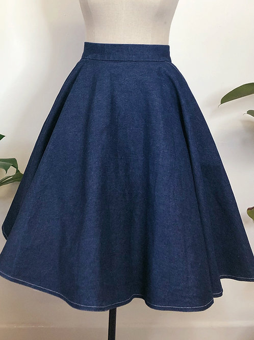Denim Circle Skirt With Pockets
