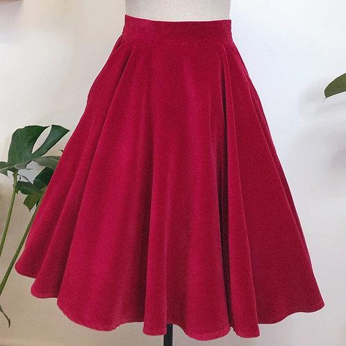 Raspberry Velvet Circle Skirt With Pockets