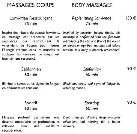 Carte de soins Spa Wellness Center
