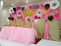 Pink & Gold backdrop w/ flowers
