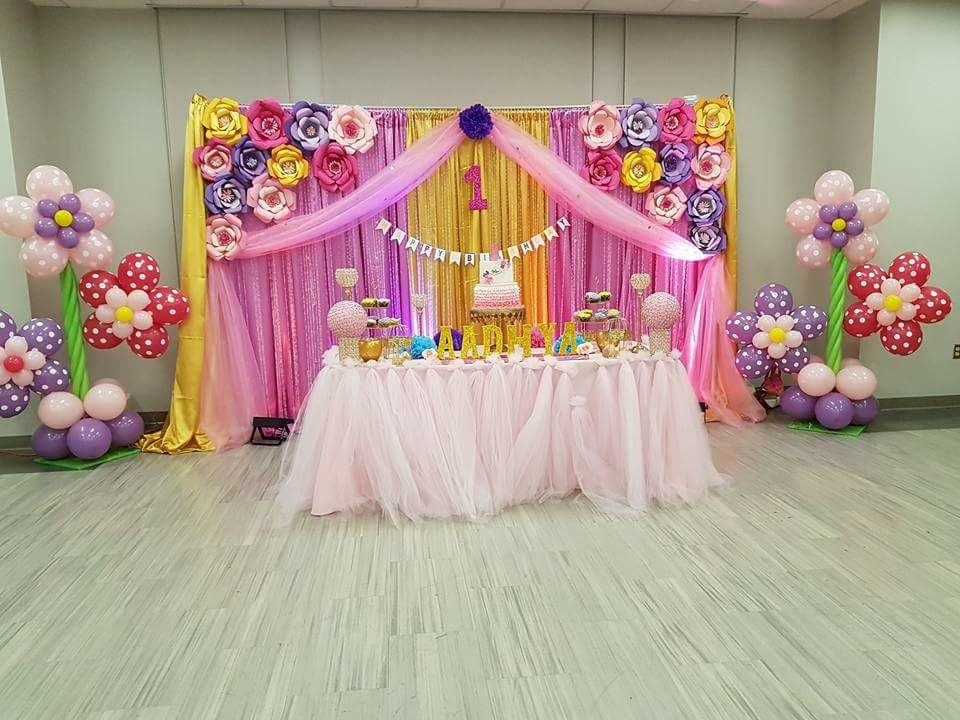 Pink & Gold with flower balloons