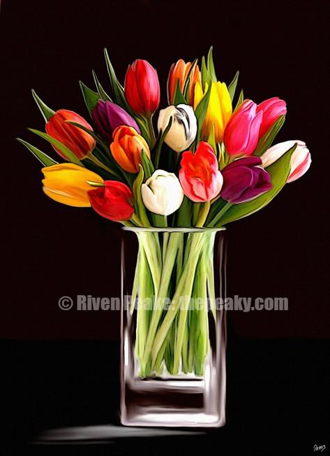 Tulips in Glass Vase by Riven Peake