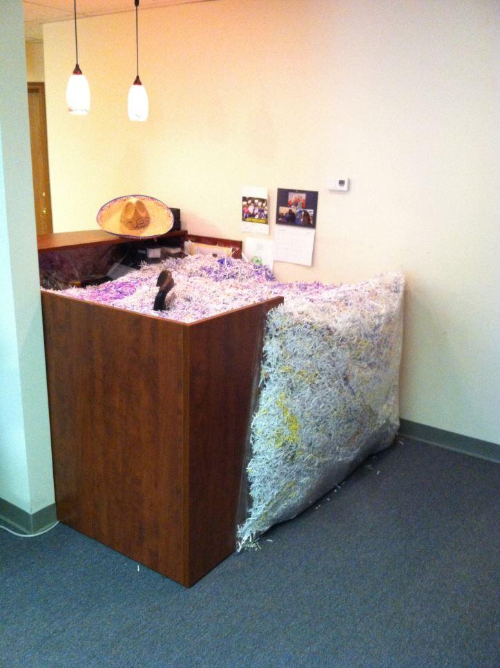 Shredded Paper Filled Desk