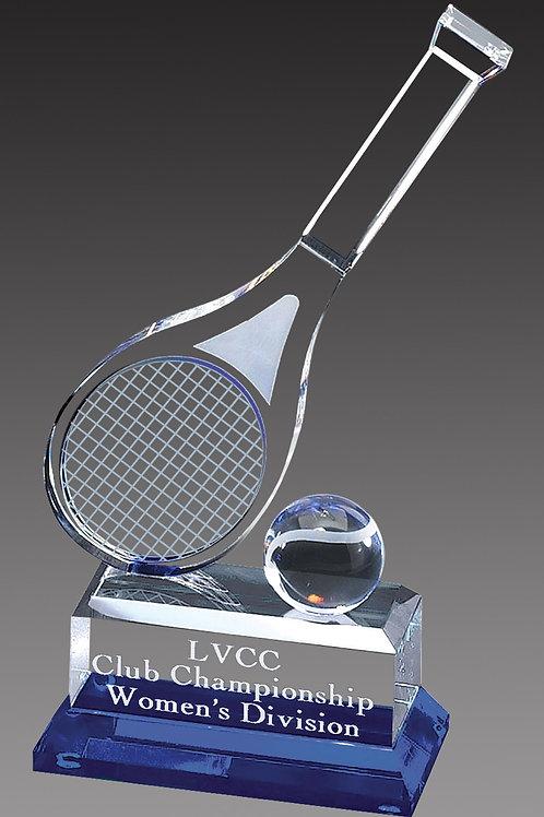 Crystal Tennis Racquet Trophy