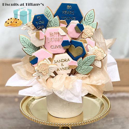 Geometric and Floral Cookie Bouquet