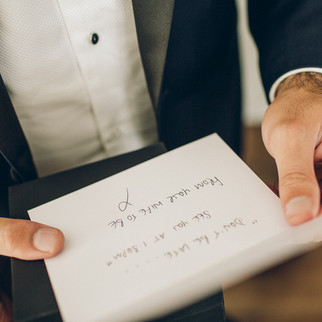 Groom with letter