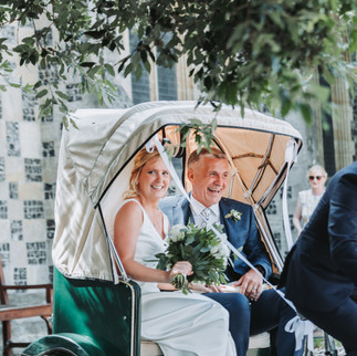 Wedding couple in took took