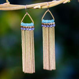 Brass and Gemstone Earrings by the Didi Jewelry Project