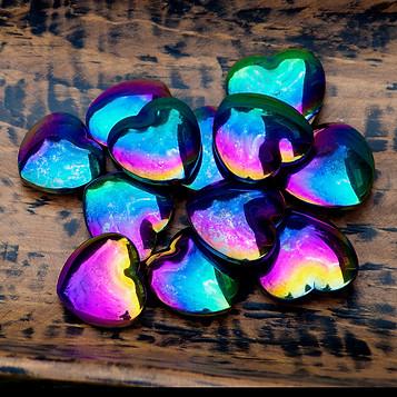 Rainbow Hematite Hearts at Wonderful PDX
