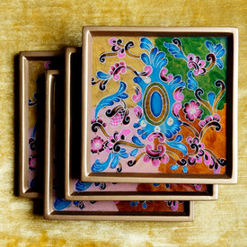 Reverse Painted Glass Coasters From Peru @ Wonderful PDX Jewely and Gifts, Portland, OR