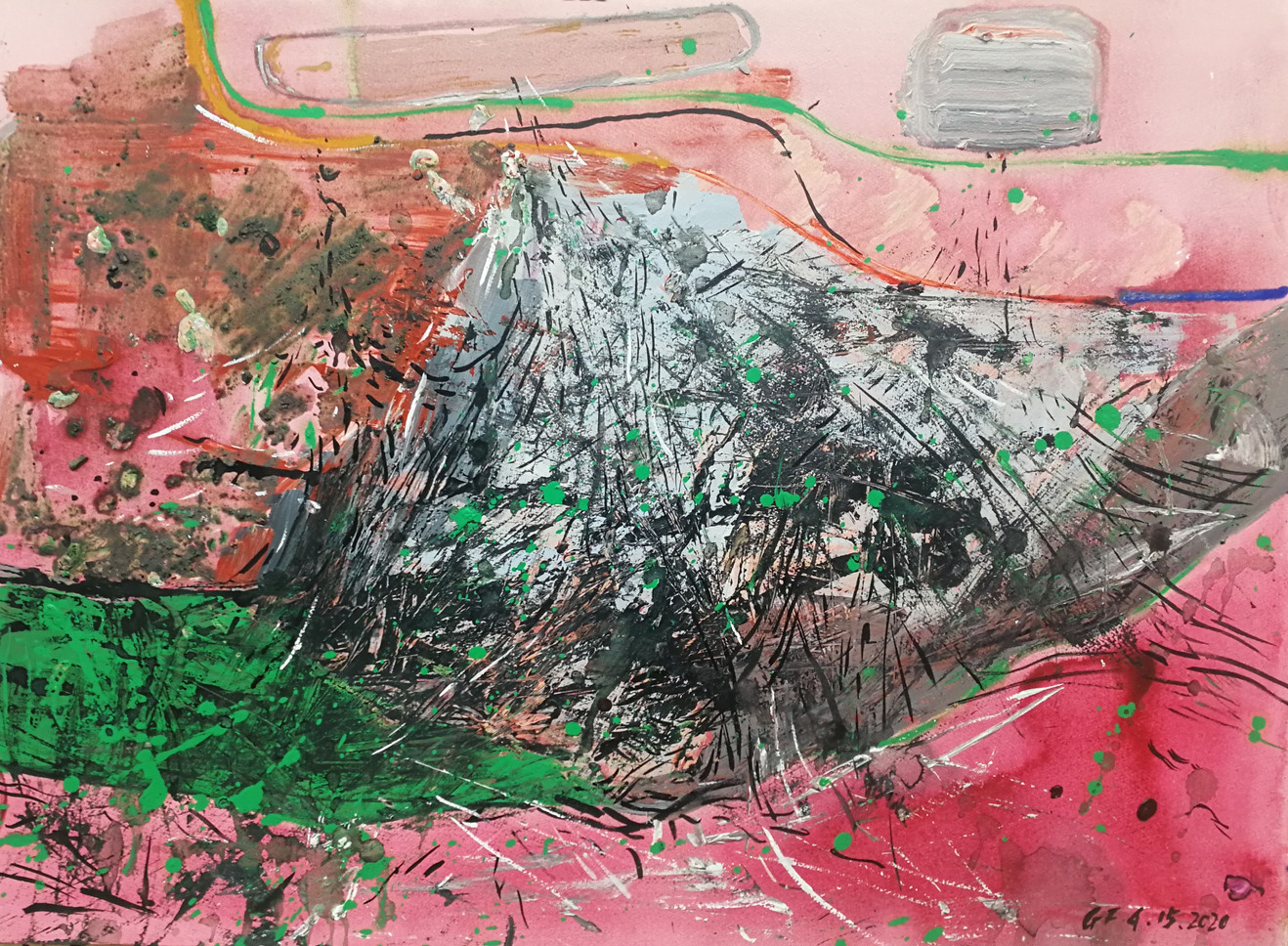 Other side of the mountain 72cm x 100cm watercolor and acrylic
