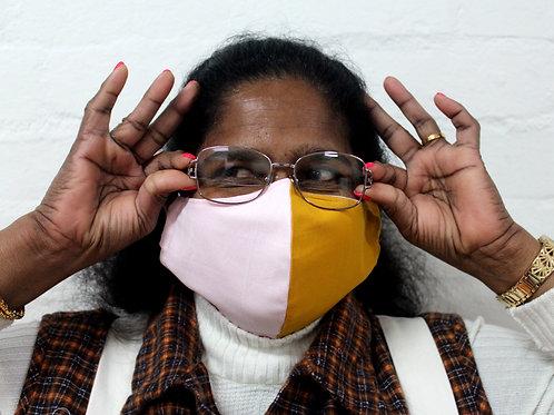 2 Layer Reusable Face Mask - Pink/Mustard