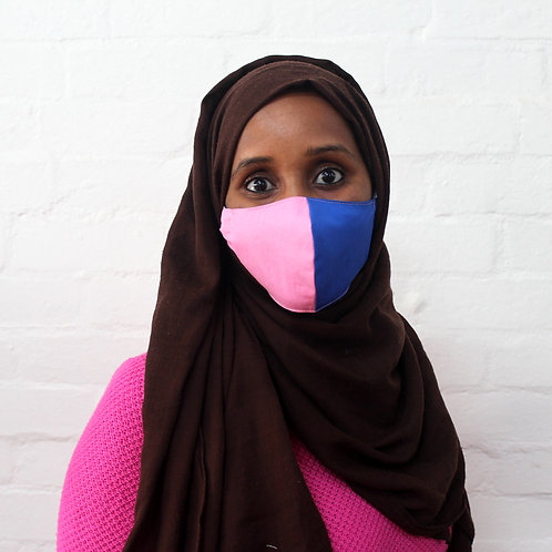 2 Layer Reusable Face Mask - Pink/Blue