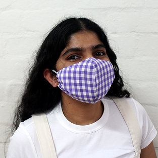2 Layer Reusable Face Mask - Purple Gingham